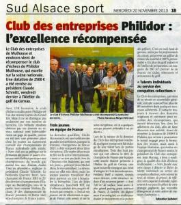 Le Club des Entreprises soutient le Philidor - L'Alsace du 20 novembre 2013