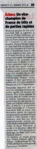 JN Vice-champion de France Blitz et rapide - L'Alsace 11 mars 2014