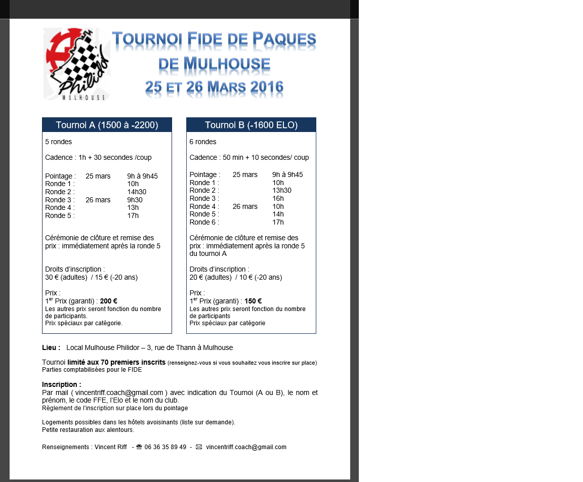 Tournoi Fide Mulhouse